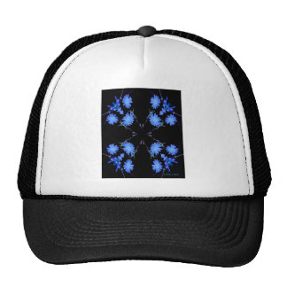 Blue and black 4 up repeat of wildflowers hat