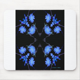 Blue and black 4 up repeat of wildflowers mousepad