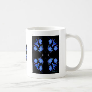 Blue and black 4 up repeat of wildflowers mug