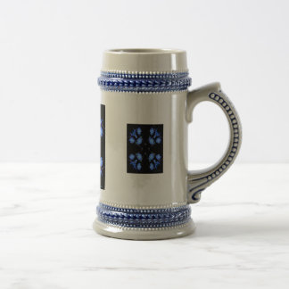 Blue and black 4 up repeat of wildflowers coffee mugs