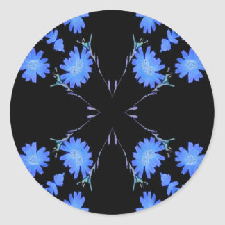 Blue and black 4 up repeat of wildflowers sticker