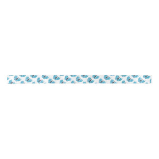 Blue and black abstract butterfly flying ribbon blank ribbon
