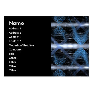 Blue and Black Abstract Design Fractal Art. Large Business Card