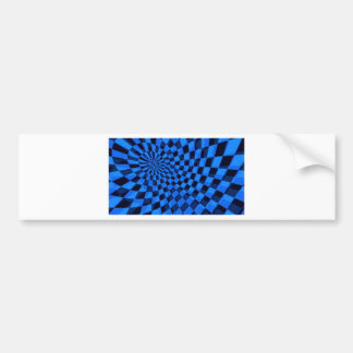 Blue And Black Abstract Square Bumper Sticker