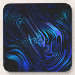Blue and Black Abstract Swirl Art Beverage Coaster
