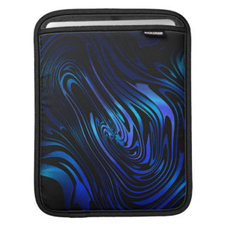 Blue and Black Abstract Swirl Art Sleeves For iPads
