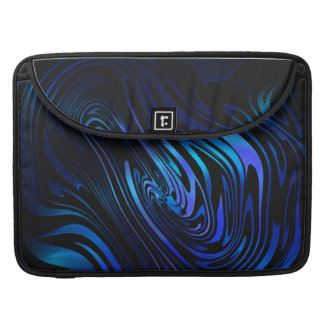 Blue and Black Abstract Swirl Art Sleeves For MacBooks