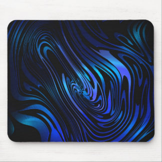 Blue and Black Abstract Swirl Art Mouse Pad