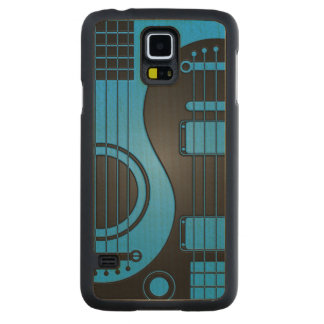 Blue and Black Acoustic Electric Guitars Yin Yang Carved® Maple Galaxy S5 Slim Case