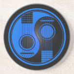 Blue and Black Acoustic Guitars Yin Yang Coaster