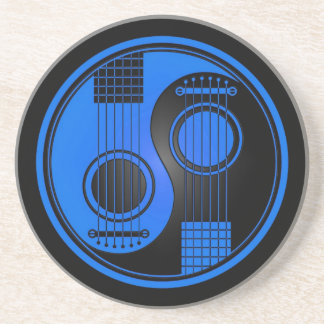 Blue and Black Acoustic Guitars Yin Yang Drink Coaster