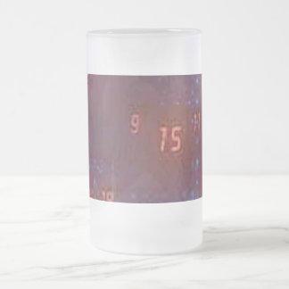 blue and black back with orange digital numbers frosted glass beer mug