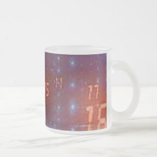 blue and black back with orange digital numbers frosted glass coffee mug