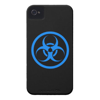 Blue and Black Bio Hazard Circle iPhone 4 Case-Mate Case