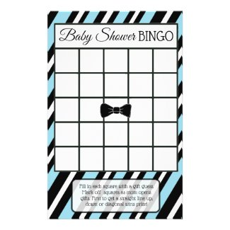 Blue and Black Bowtie Boy baby shower games Flyer