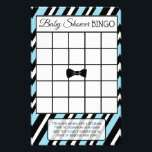 """Blue and Black Bowtie Boy baby shower games Flyer<br><div class=""""desc"""">Blue and Black Striped bow tie baby shower games. Side one is Baby Shower Bingo and side two is,  &quot;Who knows mommy best?&quot;.</div>"""