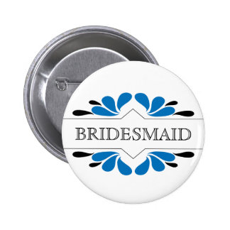 Blue and black BRIDESMAID 2 Inch Round Button