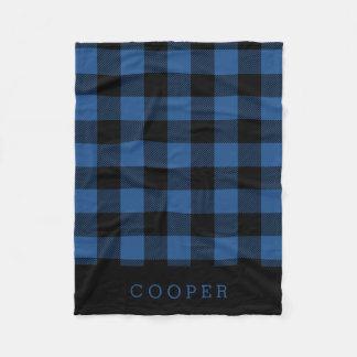 Blue and Black Buffalo Check Monogram Fleece Blanket