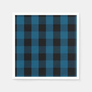 Blue and Black Buffalo Check Plaid Pattern Napkin