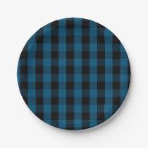 Blue and Black Buffalo Check Plaid Pattern Paper Plate