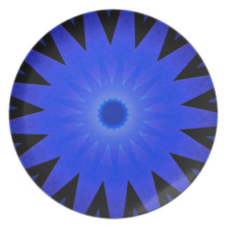Blue And Black Burst Pattern Designer Plate