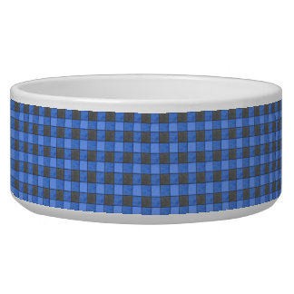 Blue and Black Check Pet Bowl