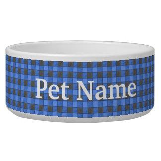 Blue and Black Check Pet Bowl - Custom
