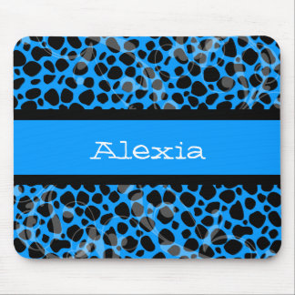 Blue and Black Cheetah pattern Mousepad