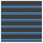 [ Thumbnail: Blue and Black Colored Striped Pattern Fabric ]