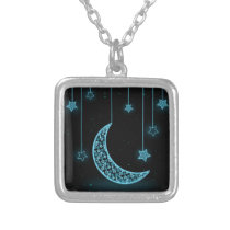 Blue and Black Crescent Moon and Stars Silver Plated Necklace
