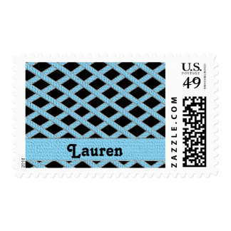 Blue and black crisscross monogram stamps