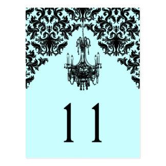 Blue and Black Damask Chandelier Table Number Postcard