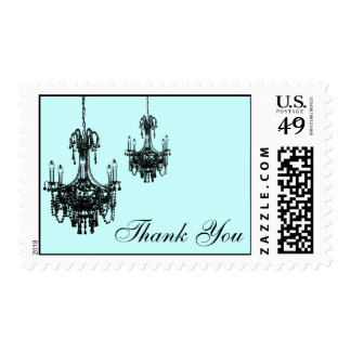 Blue and Black Damask Chandelier Thank You Postage