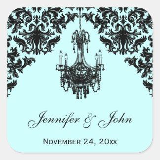 Blue and Black Damask Chandelier Wedding Sticker