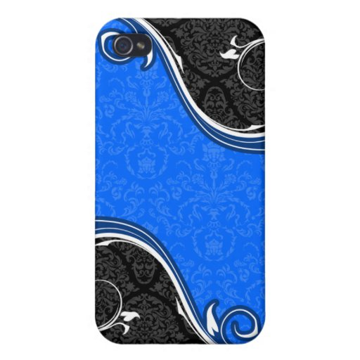 Blue and Black Damask Curves iPhone 4 Case