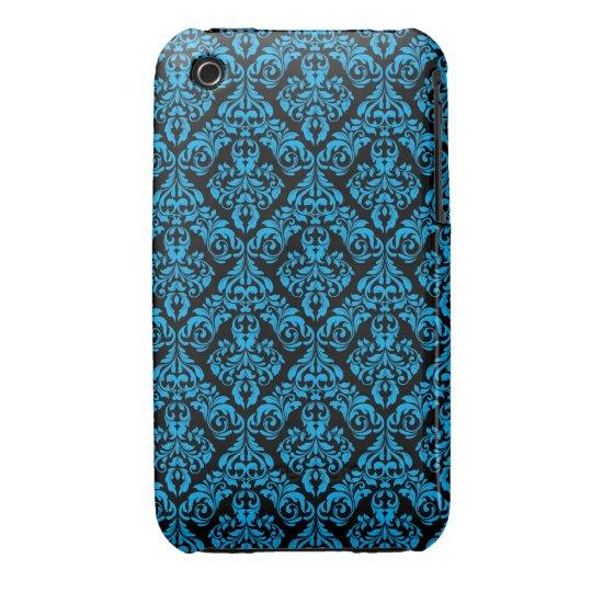 Blue and black Damask Design Blackberry Curve case