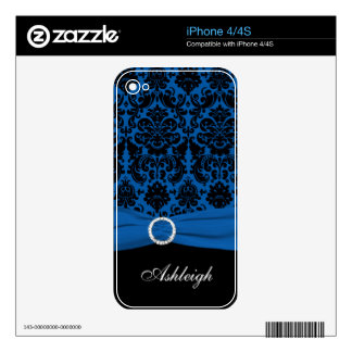 Blue and Black Damask iPhone 4/4s Skin iPhone 4 Skins