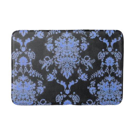 Blue and black damask print bathroom mat zazzle for Black and white damask bath mat