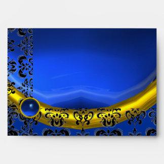 BLUE AND BLACK DAMASK SAPPHIRE GOLD ENVELOPES