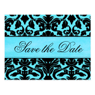 Blue and Black Damask Save the Date Card