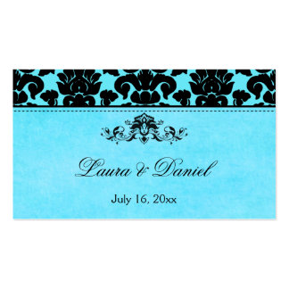 Blue and Black Damask Wedding Favor Tag Business Card Template