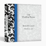 Blue and Black Damask Wedding Planner Binder
