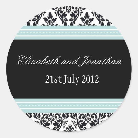 Blue and Black Damask Wedding Sticker
