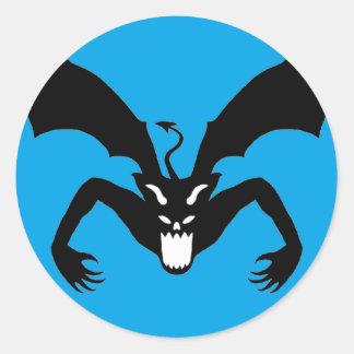 Blue And Black Devil Classic Round Sticker