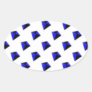 Blue and Black Diamond Kites Pattern Oval Sticker