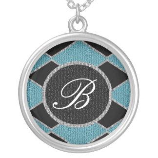 Blue and black diamond monogram sparkle necklace