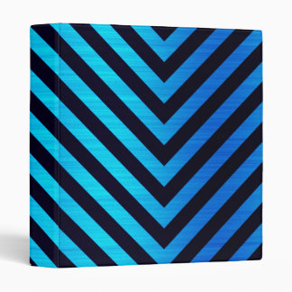 Blue and Black Downward Hazard Stripes 3 Ring Binder