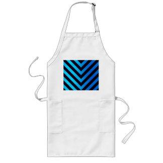 Blue and Black Downward Hazard Stripes Long Apron