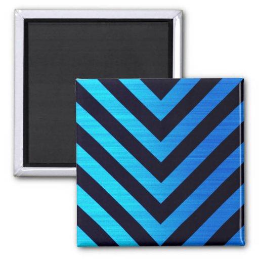 Blue and Black Downward Hazard Stripes Fridge Magnets