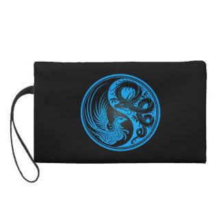 Blue and Black Dragon Phoenix Yin Yang Wristlet Purse